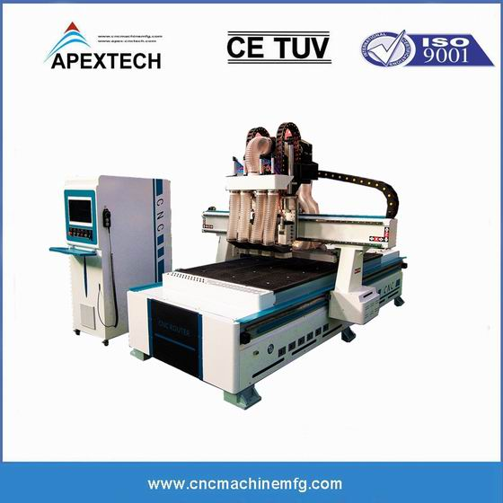 ATC Pneumatic Change Furniture Engraving Wood CNC Router Door Hinge Routing Lock Drilling Machine