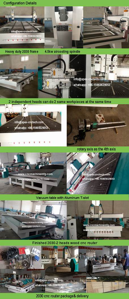 wood cnc machines, 2 spindles cutting machine router for woodworking