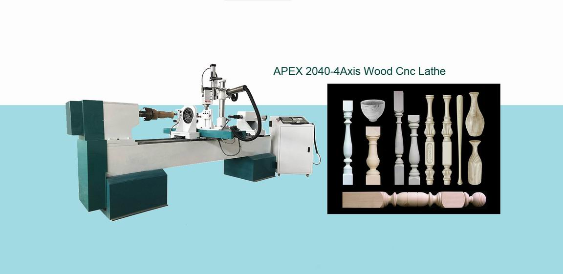 4 Axis CNC Lathe Machine for 3D Turning, Carving and Broaching
