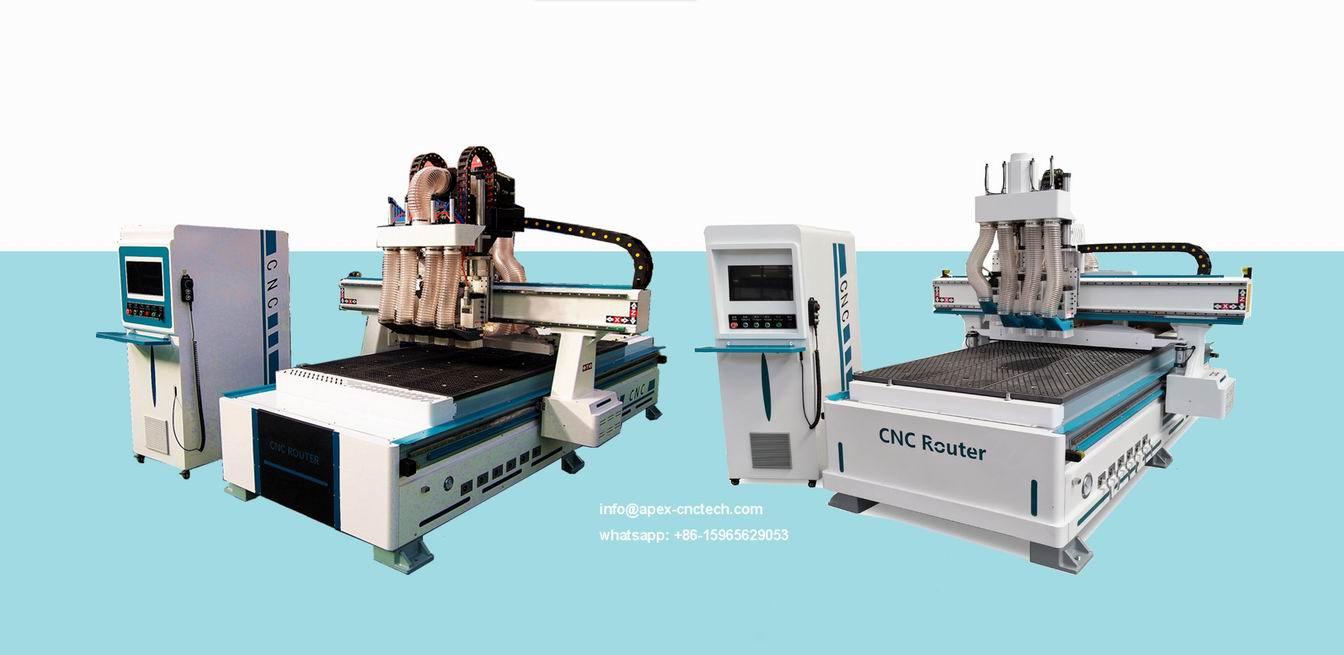 Multi-head CNC Router Machine With Pneumatic Tool Change