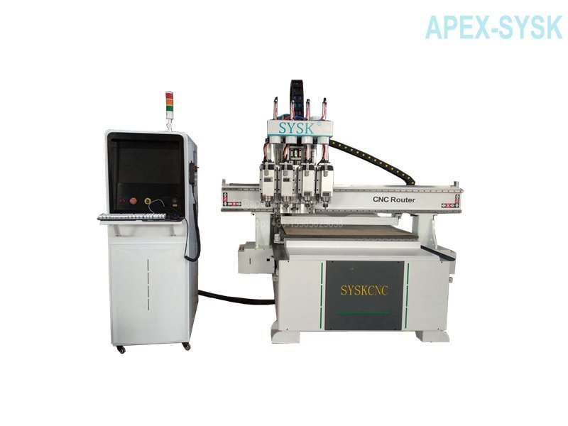 Multi-head CNC Wood Router Carving Machine For Sale 1325 with pnuematic drill function