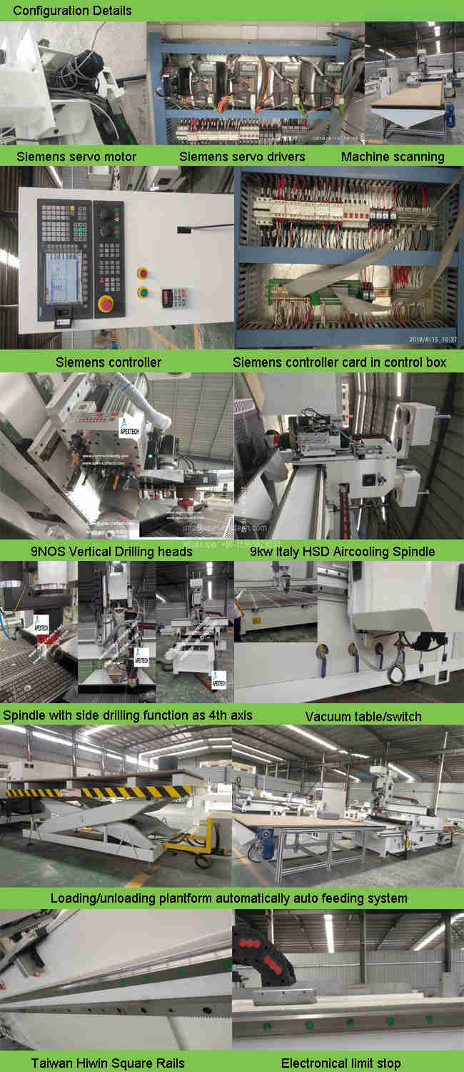4Axis ATC 1325 Drilling Head Door Cnc Router used for side slot milling, drilling, cutting